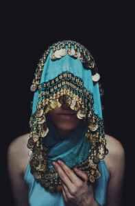 women s blue and brown sari